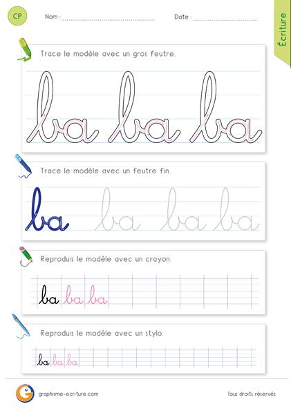 exercice-fiche- graphisme-écriture-cp-ce1-écrire-la-combinaison-des-lettres-ba-minuscule-cursive