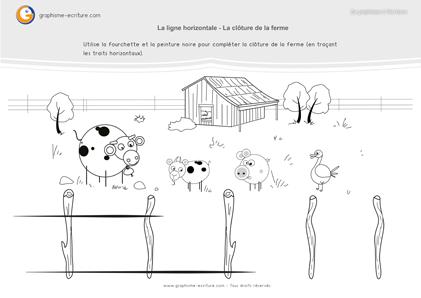 graphisme-maternelle -petite-section- la-ligne-horizontale-une-clôture-pour-la-ferme