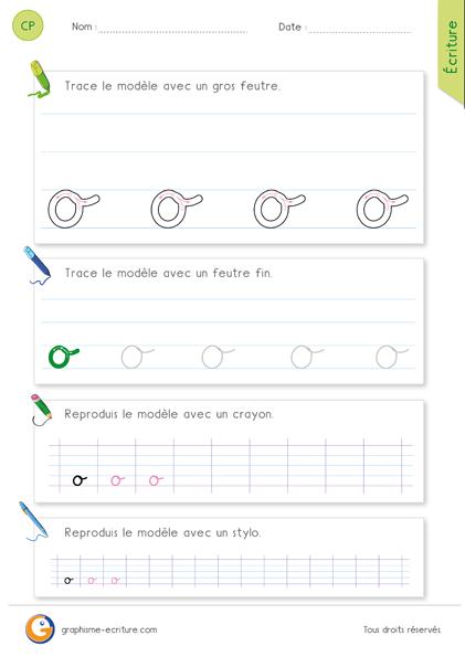 exercice-fiche- graphisme-écriture-cp-ce1-écrire-la-lettre-o-minuscule-cursive