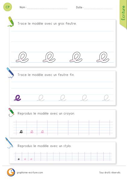 PDF Écrire la lettre e en cursive