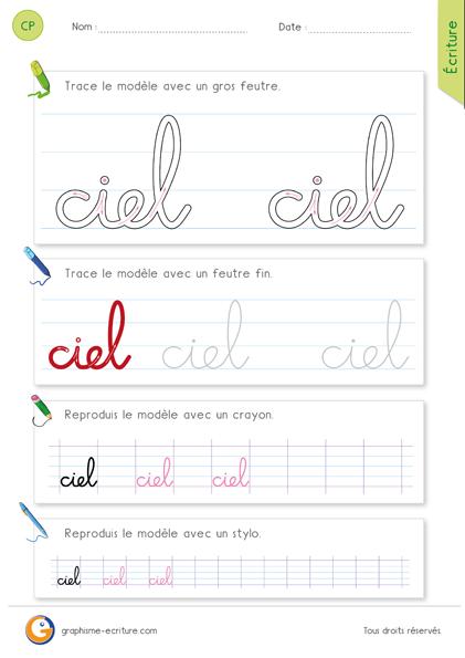 exercice-fiche- graphisme-écriture-cp-ce1-écrire-le-mot-ciel-minuscule-cursive