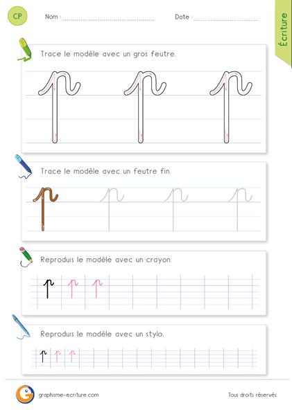 exercice-fiche- graphisme-écriture-cp-ce1-écrire-la-lettre-p-minuscule-cursive