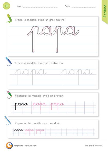 exercice-fiche- graphisme-écriture-cp-ce1-écrire-le-mot-papa-minuscule-cursive
