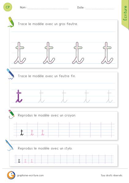 Écrire la lettre t en cursive - Comme un long i avec une barre