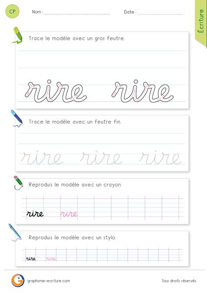 exercice-fiche- graphisme-écriture-cp-ce1-écrire-le-mot-rire-minuscule-cursive