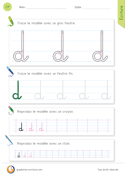 Apprendre à écrire CP CE1 - La lettre d cursive