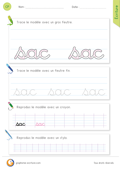 exercice-fiche- graphisme-écriture-cp-ce1-écrire-le-mot-sac-minuscule-cursive