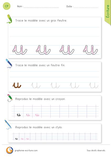 exercice-fiche- graphisme-écriture-cp-ce1-écrire-la-lettre-u-minuscule-cursive