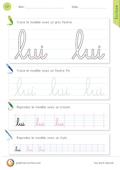 exercice-fiche- graphisme-écriture-cp-ce1-écrire-le-mot-lui-minuscule-cursive