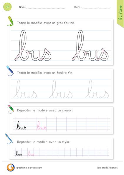 exercice-fiche- graphisme-écriture-cp-ce1-écrire-le-mot-bus-minuscule-cursive