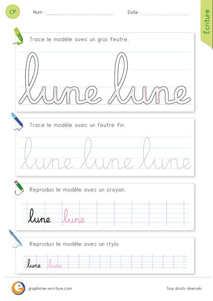 exercice-fiche- graphisme-écriture-cp-ce1-écrire-le-mot-lune-minuscule-cursive