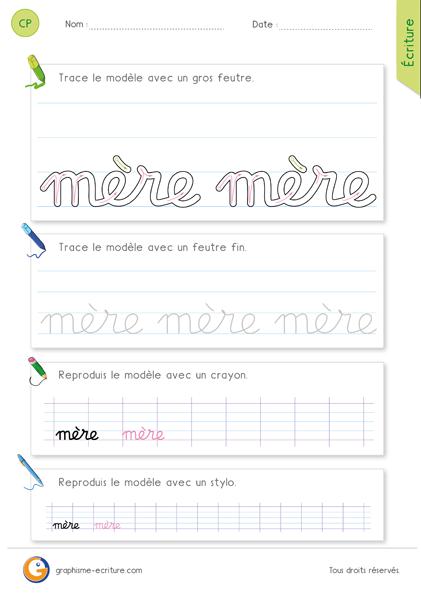 exercice-fiche-graphisme-écriture-cp-ce1-écrire-le-mot-mère-minuscule-cursive