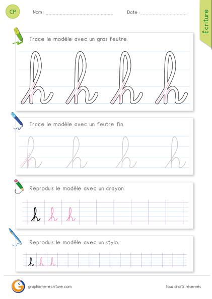 exercice-fiche-graphisme-écriture-cp-ce1-écrire-la-lettre-h-minuscule-cursive