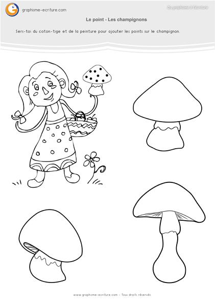 graphisme-petite-section-maternelle- le-point-les-champignons