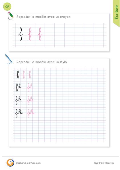 Écrire la lettre f et les mots fil fils fille en minuscules cursives