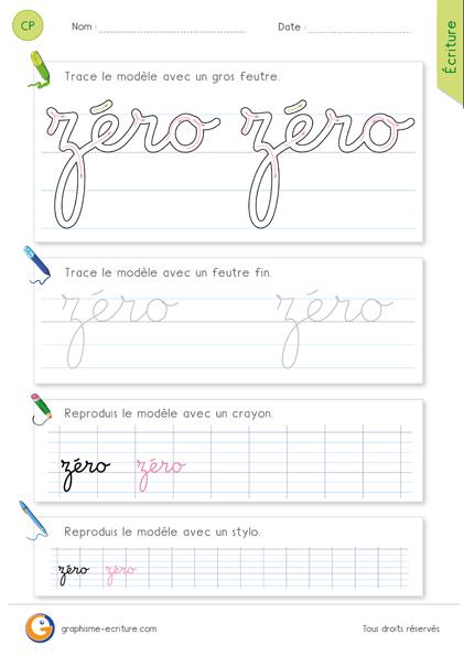 exercice-fiche-graphisme-écriture-cp-ce1-écrire-le-mot-zero-minuscule-cursive