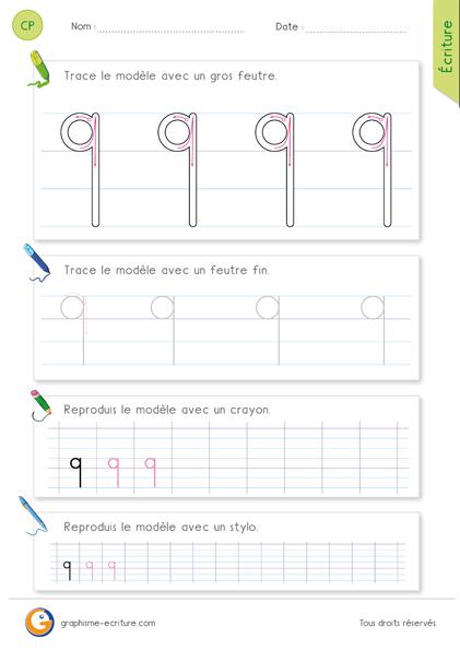 Écrire la lettre q minuscule en cursive - Écriture CP CE1 à imprimer
