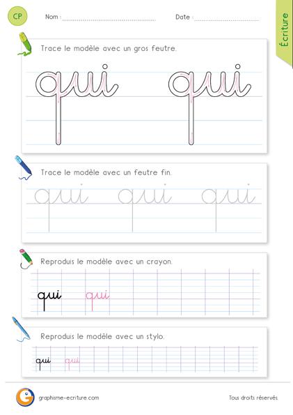 exercice-fiche-graphisme-écriture-cp-ce1-écrire-le-mot-qui-minuscule-cursive