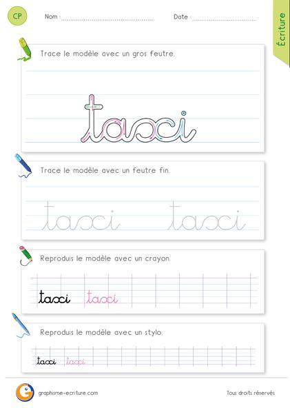 exercice-fiche-graphisme-écriture-cp-ce1-écrire-le-mot-taxi-minuscule-cursive