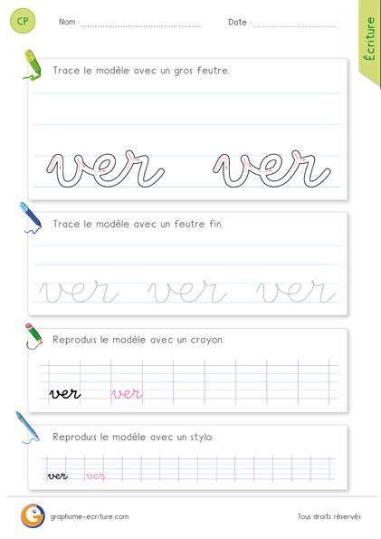 exercice-fiche-graphisme-écriture-cp-ce1-écrire-le-mot-ver-minuscule-cursive