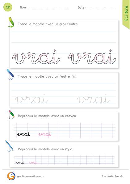 exercice-fiche-graphisme-écriture-cp-ce1-écrire-le-mot-vrai-minuscule-cursive