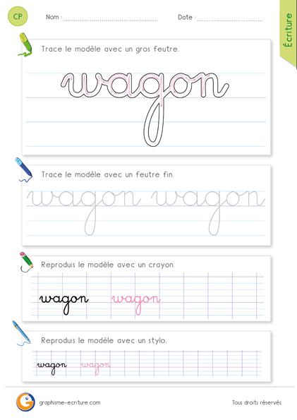 exercice-fiche-graphisme-écriture-cp-ce1-écrire-le-mot-wagon-minuscule-cursive