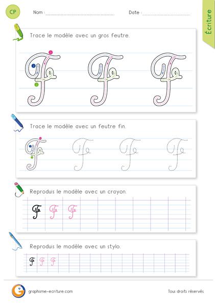 exercice-fiche-graphisme-écriture-cp-ce1-écrire-la-lettre-F-majuscule-en-cursive