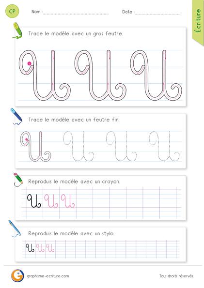 exercice-fiche-graphisme-écriture-cp-ce1-écrire-la-lettre-U-majuscule-en-cursive