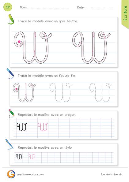 exercice-fiche-graphisme-écriture-cp-ce1-écrire-la-lettre-W-majuscule-en-cursive