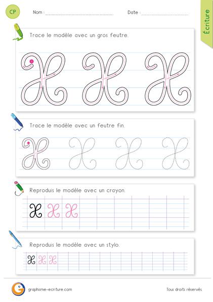 exercice-fiche-graphisme-écriture-cp-ce1-écrire-la-lettre-X-majuscule-en-cursive