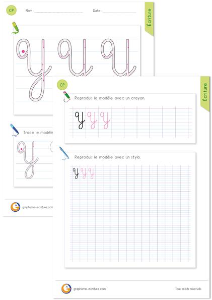 exercice-fiche-graphisme-écriture-cp-ce1-écrire-la-lettre-Y-majuscule-cursive