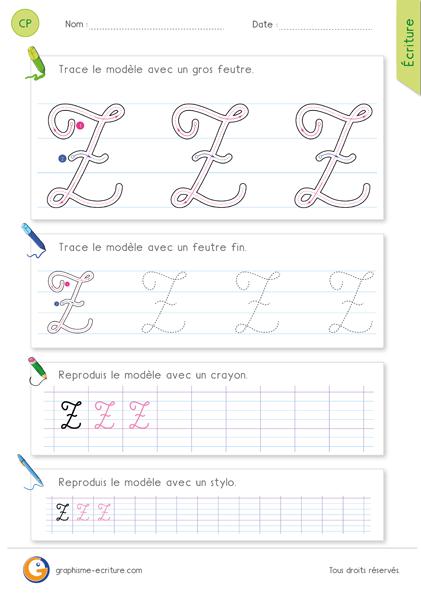 exercice-fiche-graphisme-écriture-cp-ce1-écrire-la-lettre-Z-majuscule-en-cursive