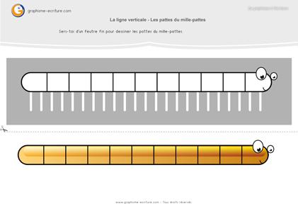 graphisme-maternelle-petite-section-les-lignes-verticales-mille-pattes