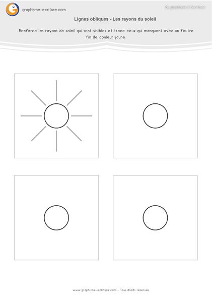 exercice-fiche- graphisme-écriture-moyenne-section-ms-traits-lignes-obliques-les-rayons-du-soleil