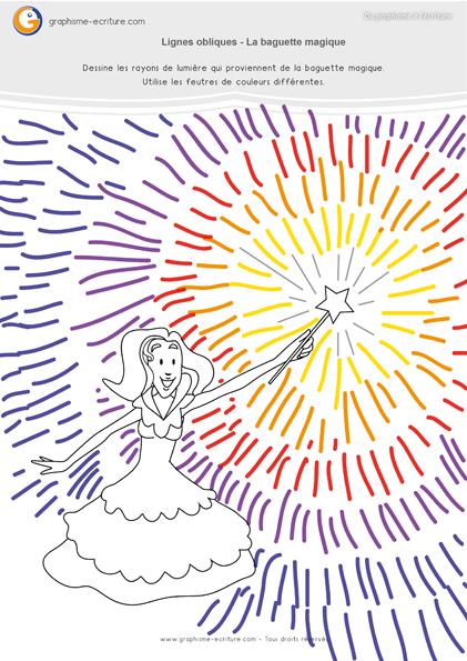 exercice-fiche- graphisme-écriture-moyenne-section-ms-traits-lignes-obliques-la-baguette-magique