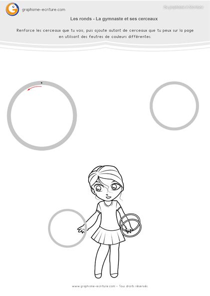 exercice-fiche- graphisme-écriture-moyenne-section-ms-tracer-les-ronds-rond-jongleuse-cerceaux