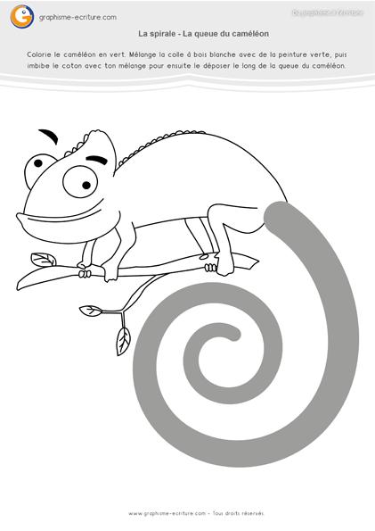 exercice-fiche-graphisme-écriture-moyenne-section-ms-les-spirales-compléter-la-queue-du-cameleon