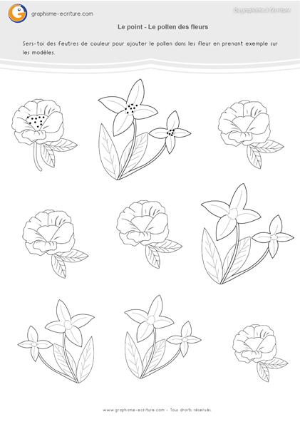 exercice-fiche- graphisme-écriture-moyenne-section-ms-faire-les-points-pollen-des-fleurs