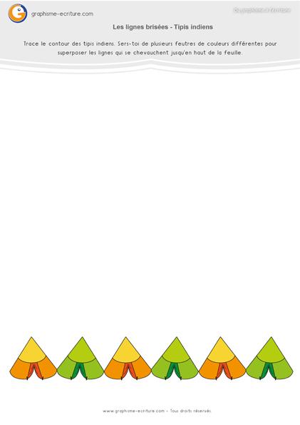 exercice-fiche-graphisme-écriture-moyenne-section-ms-lignes-brisees-zigzag-tipis-indiens-feutres
