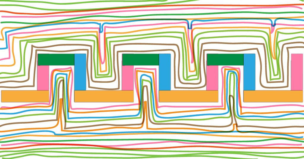 Graphisme MS Les créneaux – Collage papier et tracés