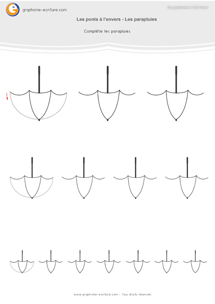 Graphisme MS Les ponts Compléter les parapluies -ponts-a-l-envers