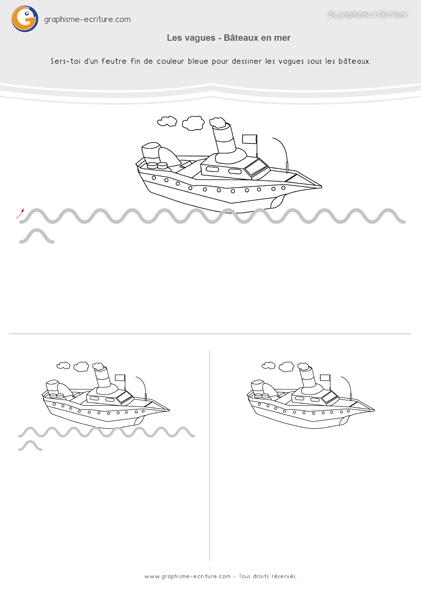 Graphisme MS Les vagues Le bateau en mer
