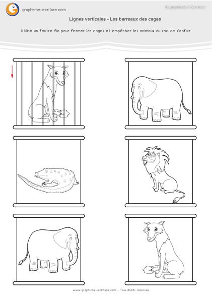 exercice-fiche- graphisme-écriture-moyenne-section-ms-faire-les-lignes-verticales-trait-vertical-barreaux-des-cages-au-zoo