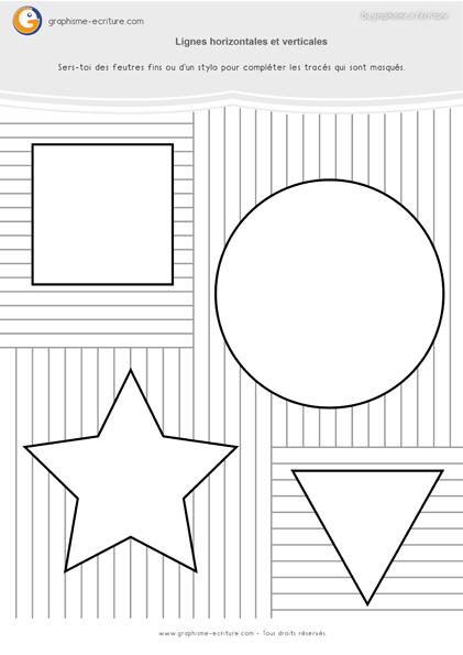 Graphisme GS Les traits - Compléter les formes géométriques