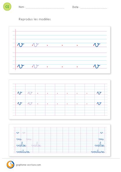 fiche d'écriture CE1 CE2 - écrire la lettre v minuscule cursive