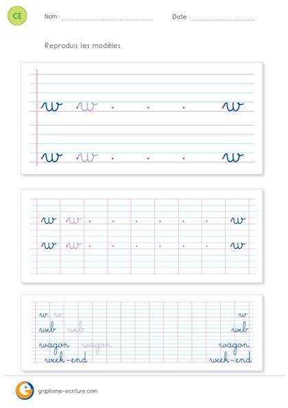 écriture ce2 cursive lettre w minuscule