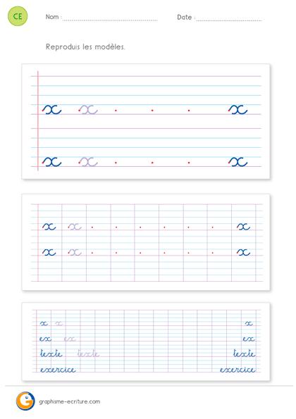lettre x en attaché Écriture CE2 Apprendre à écrire la lettre x minuscule lettre x en attaché
