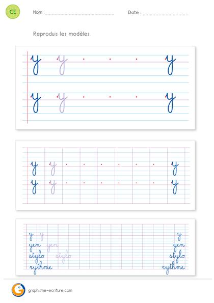 écriture ce2 cursive lettre y minuscule