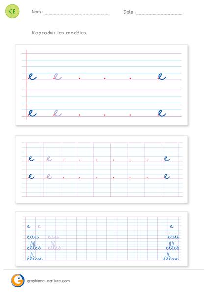 fiche d'écriture CE1 CE2 - écrire la lettre e minuscule cursive