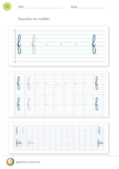 fiche d'écriture CE1 CE2 - écrire la lettre f minuscule cursive